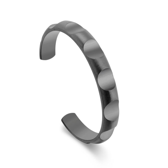 BG109GM B.Tiff Simplicity Round Pattern Adjustable Black Anodized Stainless Steel Bangle Cuff