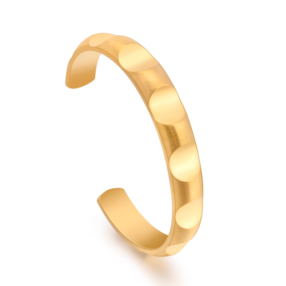 BG109G B.Tiff Simplicity Round Pattern Adjustable Gold Plated Stainless Steel Bangle Cuff