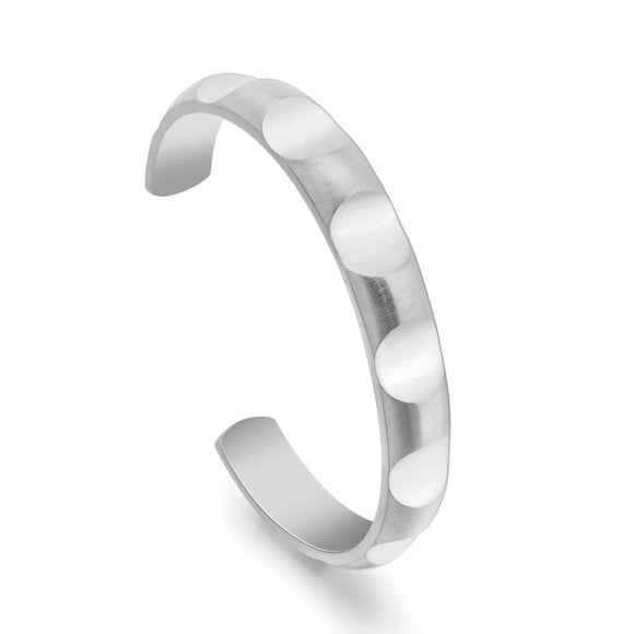 BG109W B.Tiff Simplicity Round Pattern Adjustable Stainless Steel Bangle Cuff