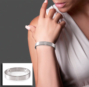 BG223W B.Tiff 4-Stone Wide Stainless Steel Pavé Bangle Bracelet