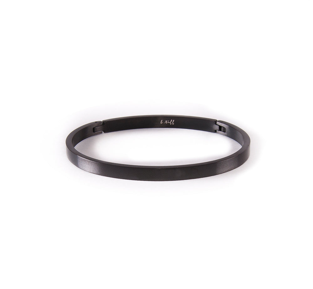 BG300B B.Tiff Simplicity Narrow Black Anodized Stainless Steel Bangle Bracelet
