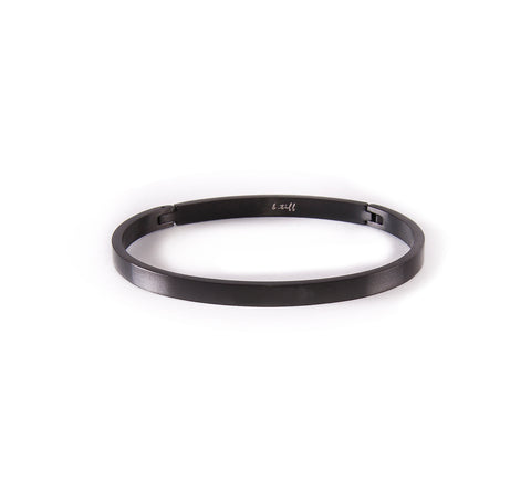 BG300B B.Tiff Matte Finished Black Anodized Stainless Steel Bangle Bracelet