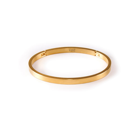 BG300G B.Tiff Simplicity Narrow Gold Plated Stainless Steel Bangle Bracelet