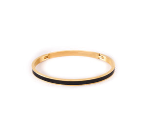 "BG301GW B.Tiff ""The Hamptons"" White Enamel Gold Plated Stainless Steel Bangle Bracelet"