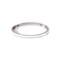 "BG301WW B.Tiff ""The Hamptons"" White Enamel Stainless Steel Bangle Bracelet"