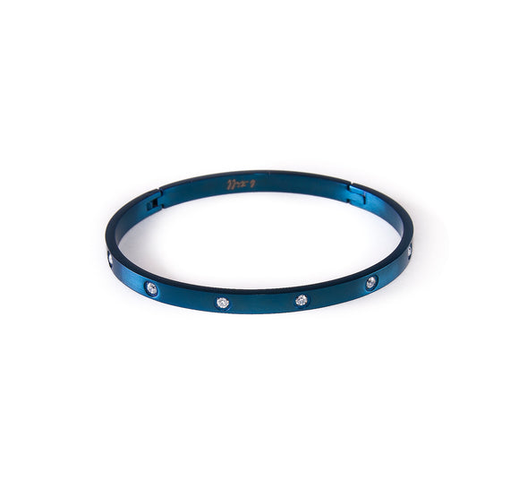 BG308BL B.Tiff 8-Stone Blue Sapphire Stainless Steel Star Bangle Bracelet