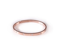 BG308RG B.Tiff 8-Stone Rose Gold Plated Stainless Steel Star Bangle Bracelet