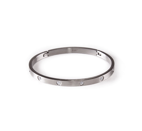 BG308W B.Tiff Stainless Steel Star Bangle Braclet