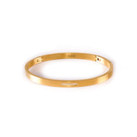 BG309G B.Tiff 9-Stone Pave Gold Plated Stainless Steel Bangle Bracelet