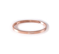 BG309RG B.Tiff 9-Stone Pave Rose Gold Plated Stainless Steel Bangle Bracelet