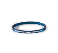 BG333BL B.Tiff Eternity 25 Blue Sapphire Stainless Steel Bangle Bracelet