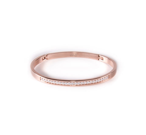 BG333RG B.Tiff Half Eternity Polished Rose Gold Plated Stainless Steel Bangle Bracelet