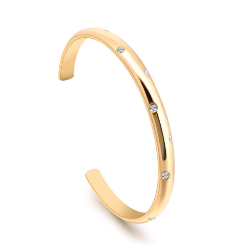 B.Tiff 8-Stone Starlight Gold Plated Stainless Steel Pave Adjustable Bangle Cuff