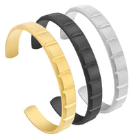 BG611G B.Tiff Simplicity Matte Box Cut Adjustable Gold Plated Stainless Steel Bangle Cuff