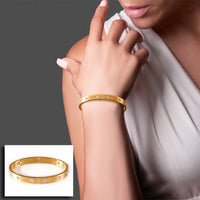 BG808G B.Tiff 8-Stone Bold Gold Plated Stainless Steel Bangle Bracelet
