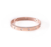 BG808W B.Tiff 8-Stone Bold Stainless Steel Bangle Bracelet