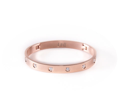 BG808RG B.Tiff Rose Gold Plated Stainless Steel Star Bangle Braclet