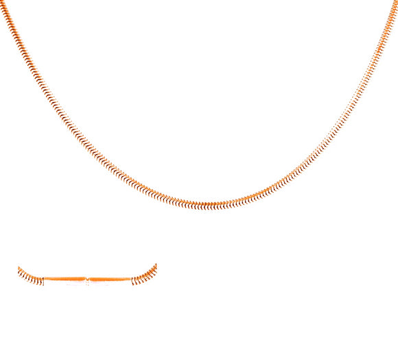 C030RG B.Tiff Thin Rose Gold Plated Stainless Steel Coil Chain Necklace