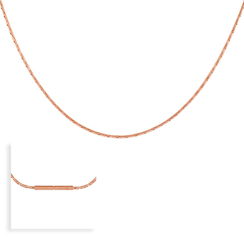 C031RG B.Tiff Diamond Cut Rose Gold Plated Snake Necklace