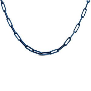 "CL630BL B.Tiff ""Jemma"" Flat Long Adjustable Link Blue Sapphire Stainless Steel Necklace"