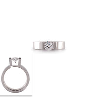 RG074W B.Tiff Round Stainless Steel Solitaire Engagement Ring