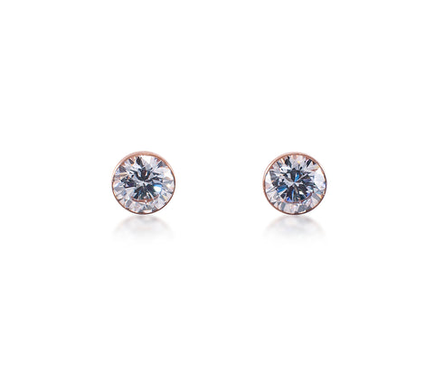 ER101RG B.Tiff Rose Gold Plated Stainless Steel Solitaire Earrings