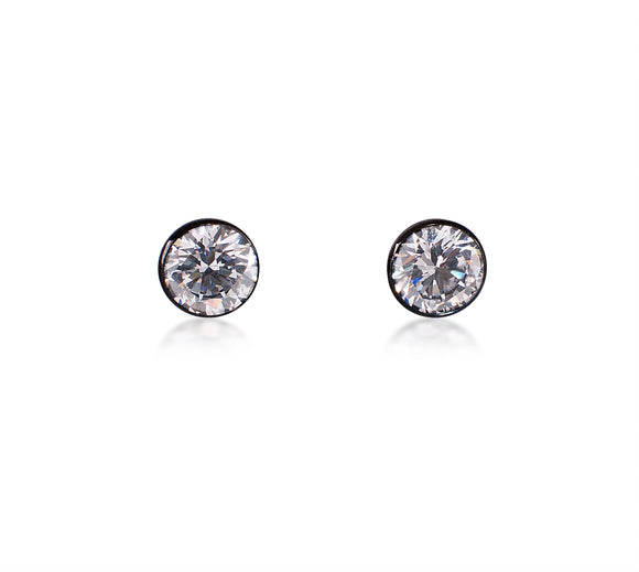 ER101B B.Tiff 1 ct Black Anodized Stainless Steel Solitaire Stud Earrings