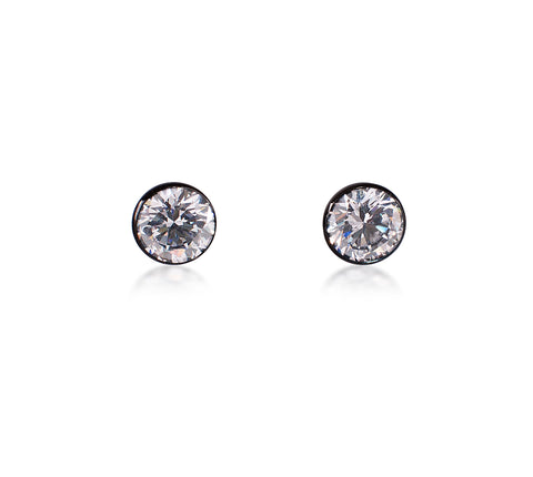 ER101B B.Tiff Black Anodized Stainless Steel Solitaire Earrings