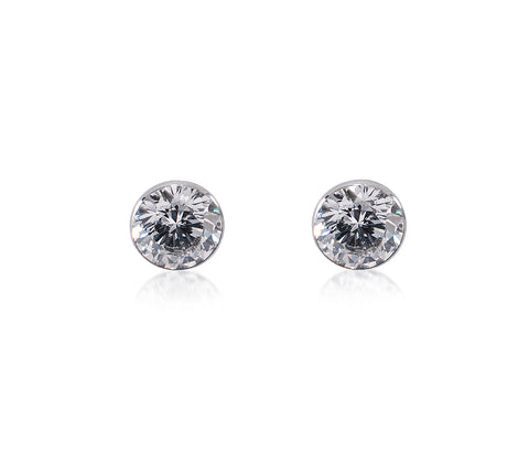 ER101W B.Tiff Stainless Steel Solitaire Earrings