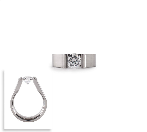RG091W B.Tiff 1 ct Round Stainless Steel Solitaire Engagement Ring