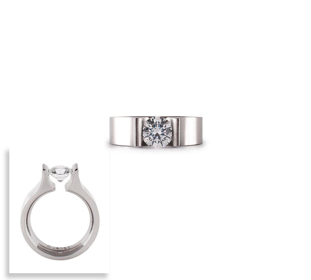 RG092W B.Tiff 1 ct Round Stainless Steel Solitaire Engagement Ring
