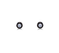 ER002B B.Tiff Pave Black Anodized Stainless Steel Solitaire Stud Earrings