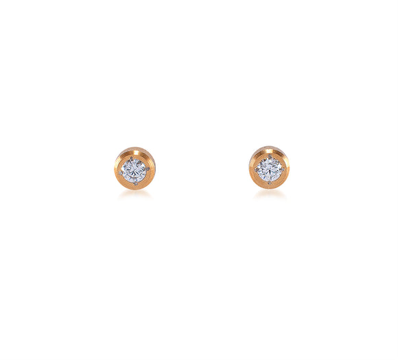 ER002G B.Tiff Pave Gold Plated Stainless Steel Solitaire Stud Earrings