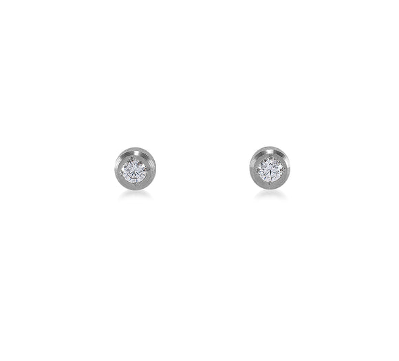 ER002W B.Tiff Pave Stainless Steel Solitaire Stud Earrings