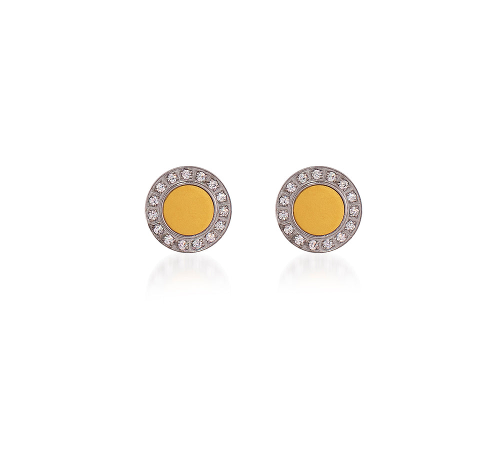 ER207G B.Tiff Pave 15-Stone Gold Center Stainless Steel Halo Earrings