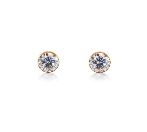 ER101G B.Tiff Gold Plated Stainless Steel Solitaire Earrings