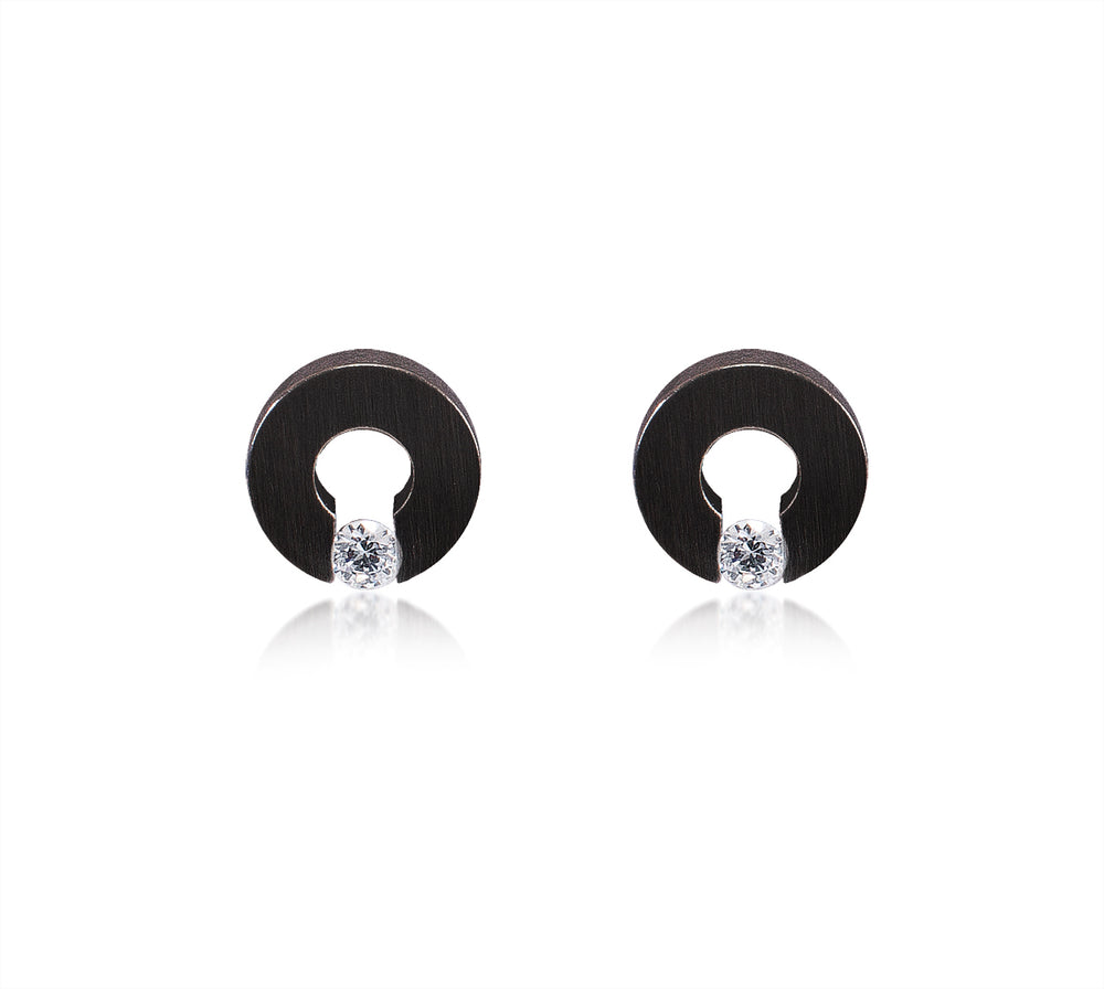 ER100B B.Tiff Malfinia Black Anodized Stainless Steel Earrings