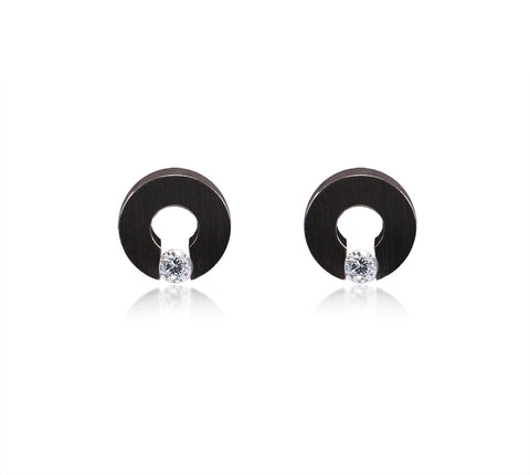 ER100B B.Tiff Supera Black Anodized Stainless Steel Earrings