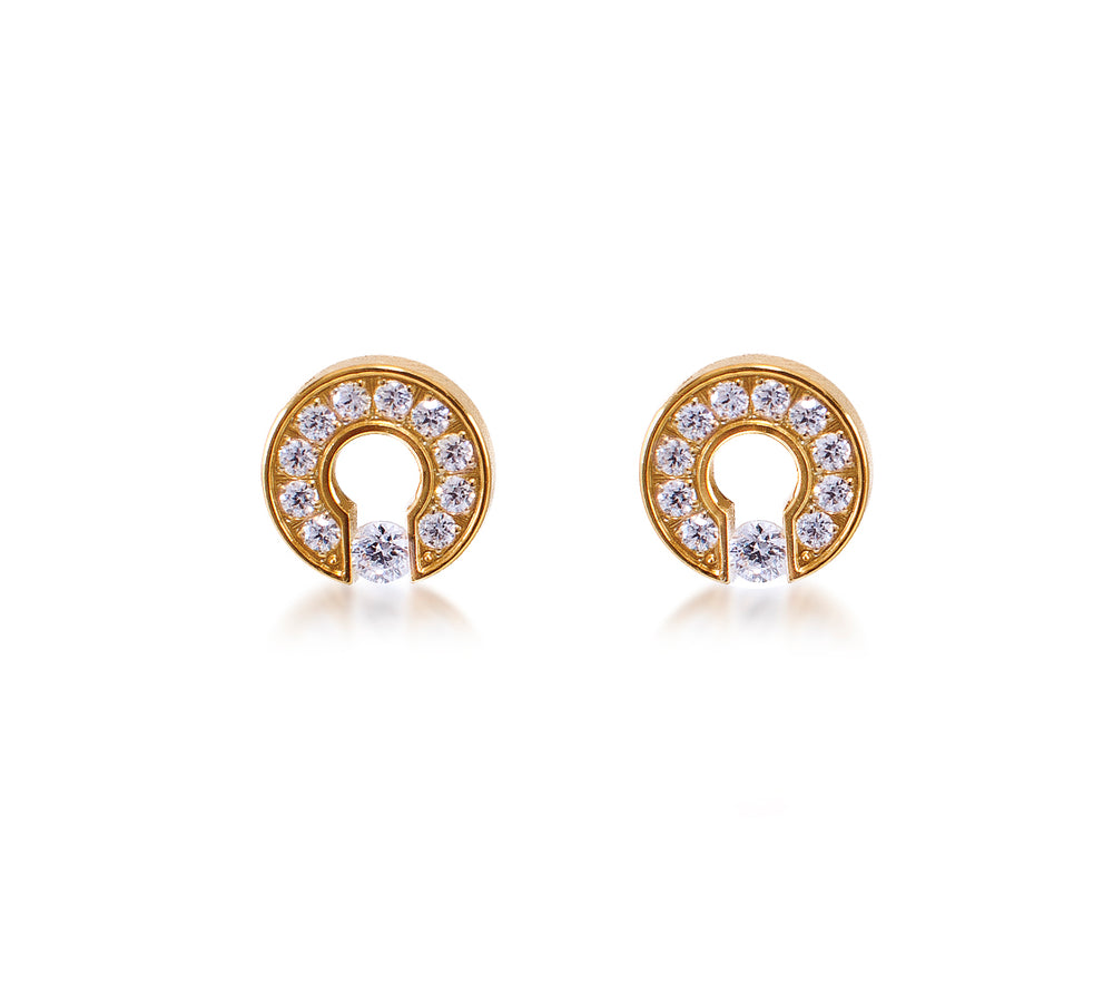 ER118G B.Tiff Barrel Gold Plated Stainless Steel Earrings