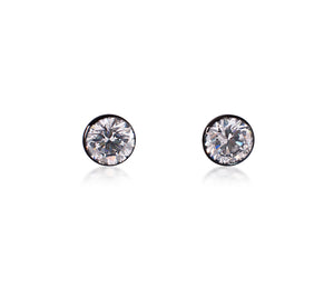 ER101RG B.Tiff 1 ct Rose Gold Plated Stainless Steel Solitaire Stud Earrings