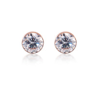 ER201RG B.Tiff 2 ct Solitaire Rose Gold Plated Stainless Steel Stud Earrings