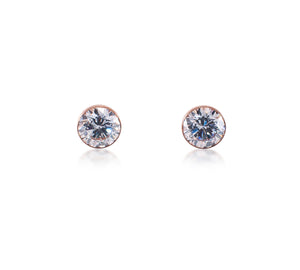 ER101G B.Tiff 1 ct Gold Plated Stainless Steel Solitaire Stud Earrings