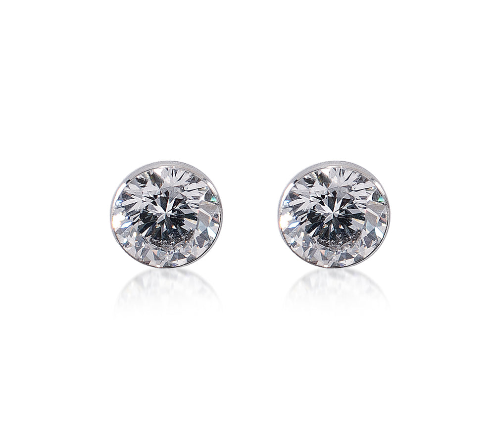 ER201W B.Tiff 2 ct Solitaire Stainless Steel Stud Earrings
