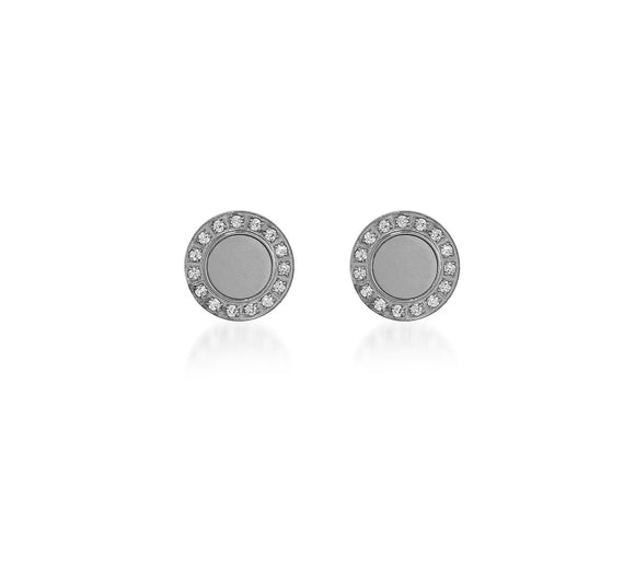 ER207WW B.Tiff Pave 15-Stone White Center Stainless Steel Halo Earrings