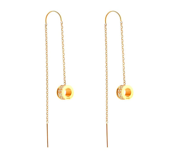 ER228G B.Tiff Thread Dangling Circle Gold Plated Stainless Steel Pave Earrings