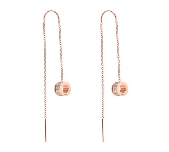 ER228RG B.Tiff Thread Dangling Circle Rose Gold Plated Stainless Steel Pave Earrings
