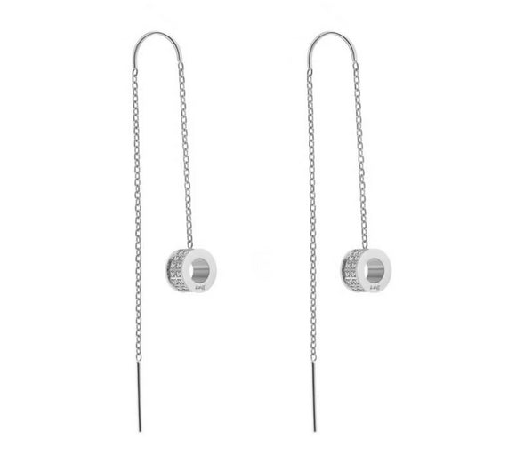 ER228W B.Tiff Thread Dangling Circle Stainless Steel Pave Earrings