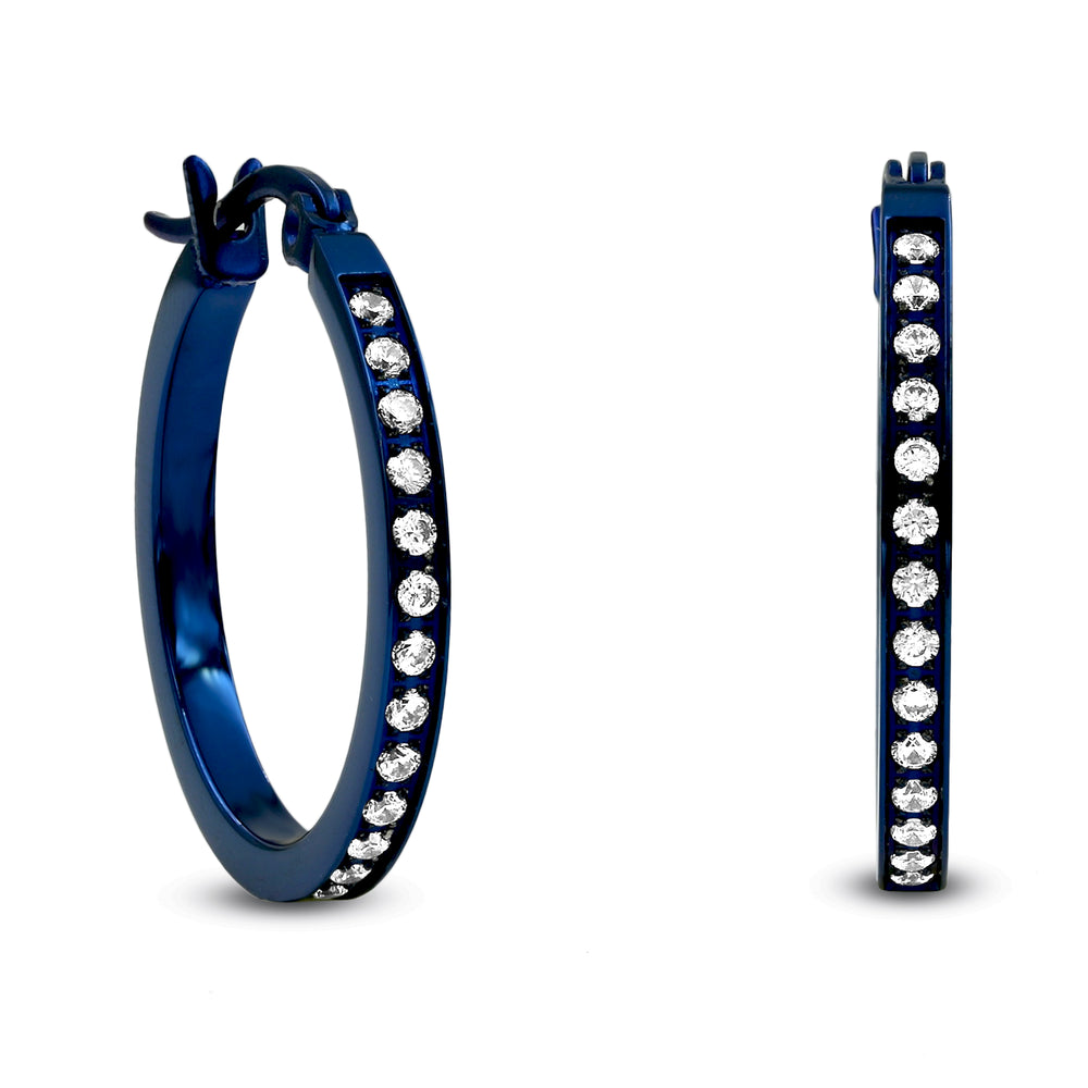 ER310BL B.Tiff Pave 28-Stone Classic Blue Sapphire Stainless Steel Small Hoop Earrings