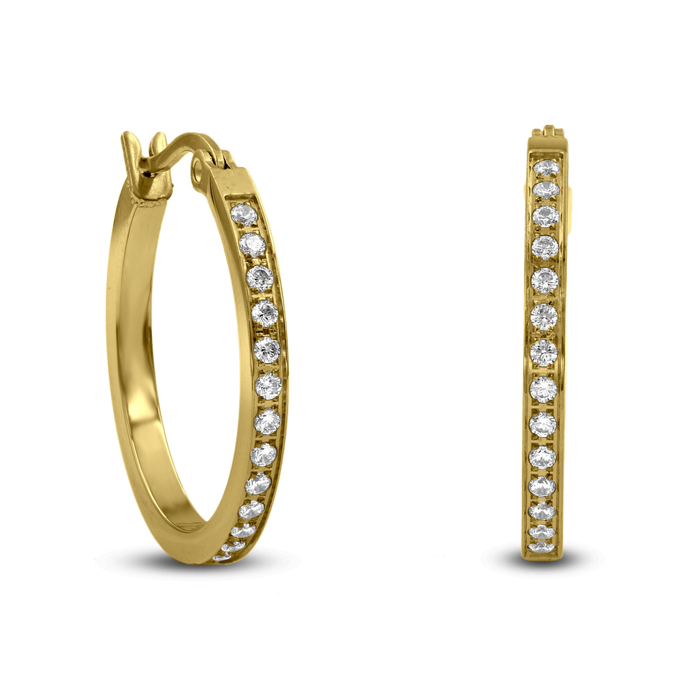 ER310G B.Tiff Pave 28-Stone Classic Gold Plated Stainless Steel Small Hoop Earrings