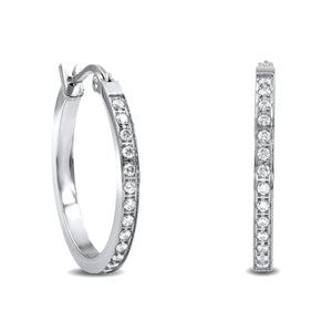 ER310W B.Tiff Pave 28-Stone Classic Stainless Steel Small Hoop Earrings